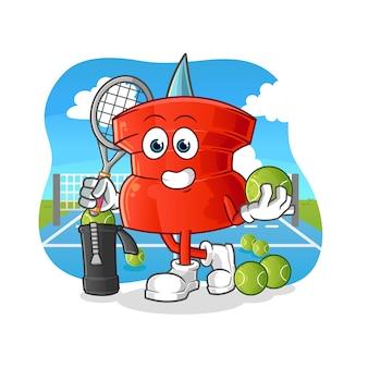 Push pin plays tennis illustration. character