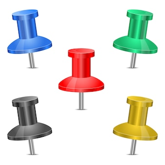 Push pin set   illustration on white background
