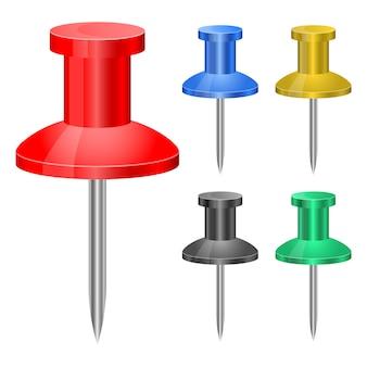Push pin set   illustration on white background