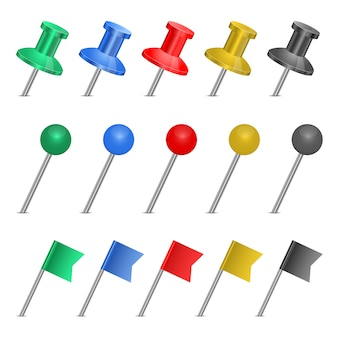 Push pin set  isolated