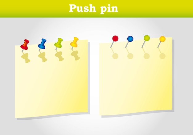 Push pin over yellow paper vector illustration