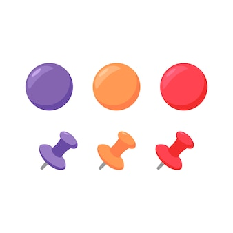 Набор кнопок и магнитов - плоская векторная иллюстрация красочных офисных принадлежностей для бизнеса и образования