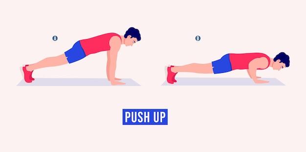 Упражнение отжимания женщина тренировки фитнес аэробика и упражнения