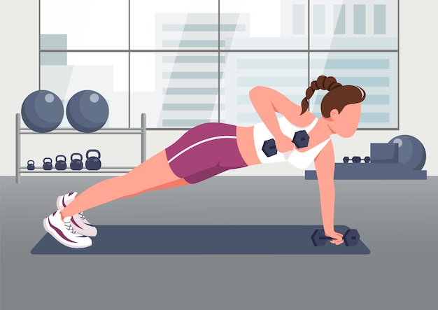 Push ups with dumbbells flat color illustration