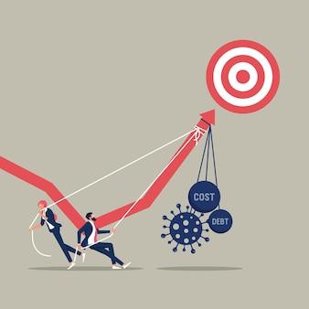 Подталкивание графика вверх бизнес-график, представляющий крах фондового рынка, вызванный вирусом короны
