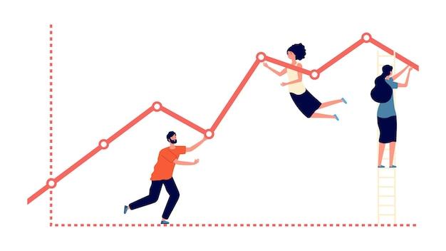 Толкаем вверх график. результаты работы, увеличение прибыли и метафора роста бизнеса. плоские люди прогресс, работа в команде и концепция вектора развития. иллюстрация прогресса и достижений в совместной работе