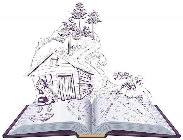 Pushkin tale of fisherman and golden fish. open book illustration