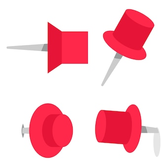 Pushpin vector cartoon set isolated on a white background.