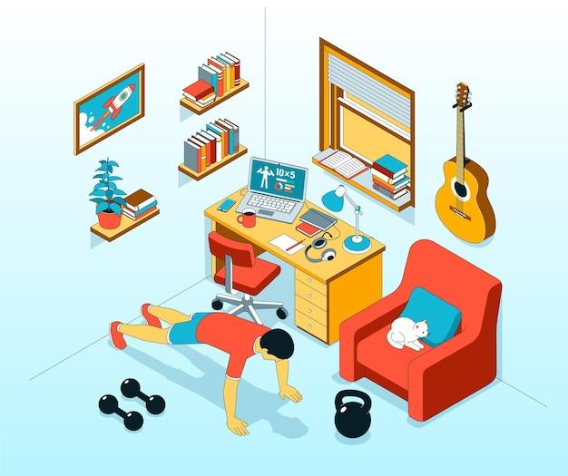 Pushup exercise at home isometric illustration