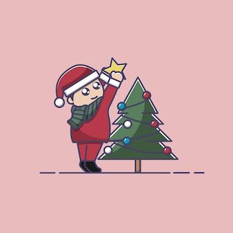 Положите звезду на иллюстрацию рождественской елки