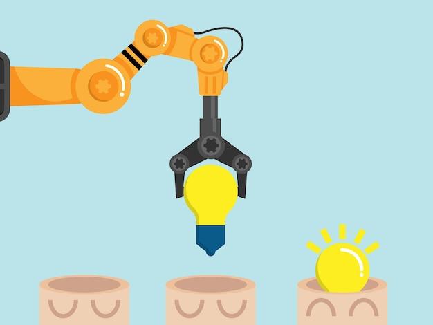 ロボットアームの漫画イラストで電球のアイデアを頭に入れて