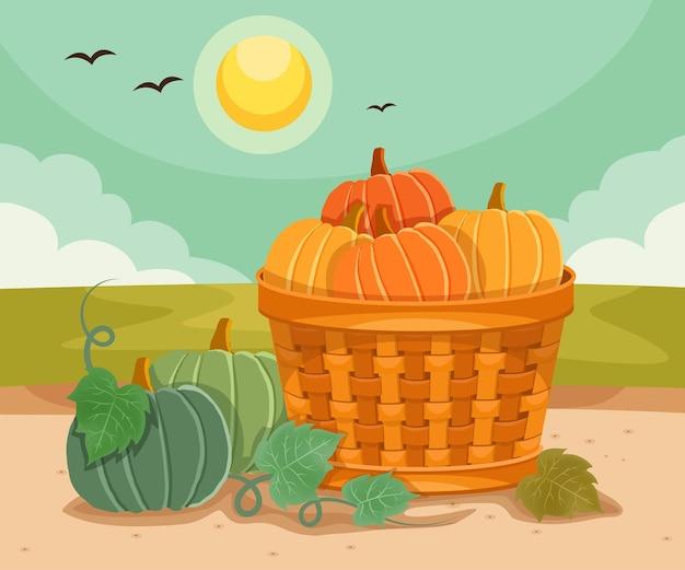 가을에는 호박을 바구니에 담다