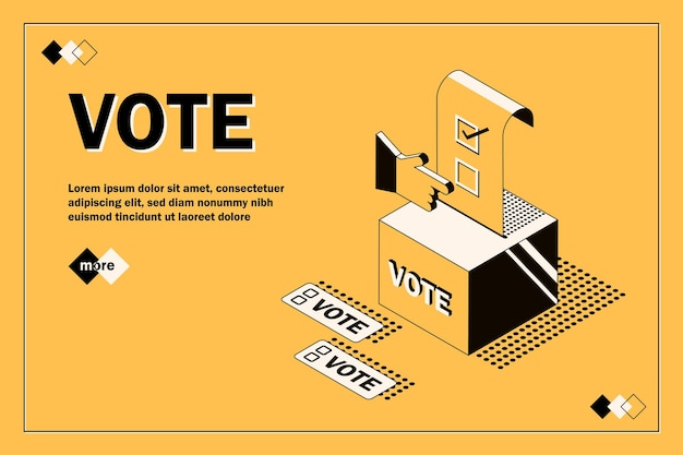 Помещает бюллетень для голосования в урну для голосования концепция голосования и выборов
