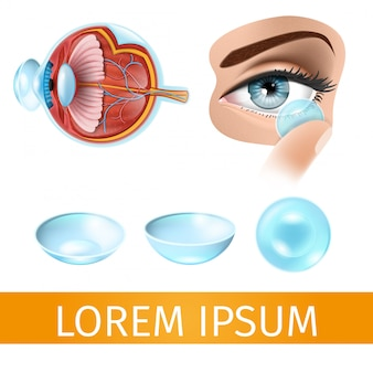 Putting on contact lenses realistic vector diagram
