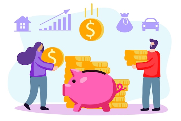 Putting money piggy bank vector happy married couple putting coin into piggy bank family budget home
