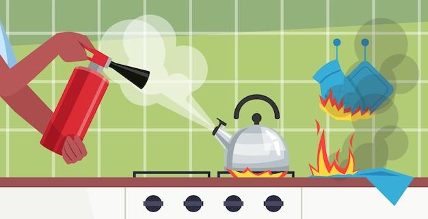 キッチンテーブルセミイラストで火を消します。やかん沸騰。手消火器使用。商業用調理室火災事故漫画シーンの防止