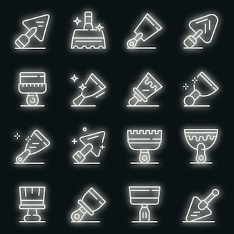 Набор иконок шпатель. наброски набор шпатель векторных иконок неонового цвета на черном