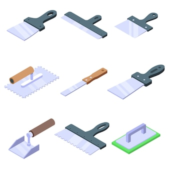 Putty knife icons set