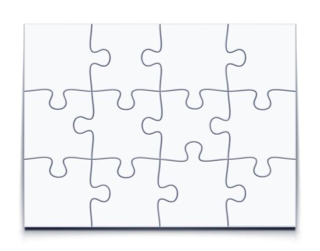 12ピースのモザイクモックアップでパズル3x4グリッドジグソーゲーム
