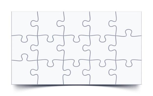 16x9の比率で15ピースのモザイクモックアップを備えたパズル3x5グリッドジグソーゲーム