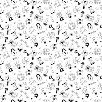 Головоломки и загадки. ручной обращается бесшовные модели с кроссвордом, лабиринтом, мозгом, шахматной фигурой, лампочкой, лабиринтом, шестерней, замком и ключом. векторные иллюстрации в стиле каракули на белом фоне