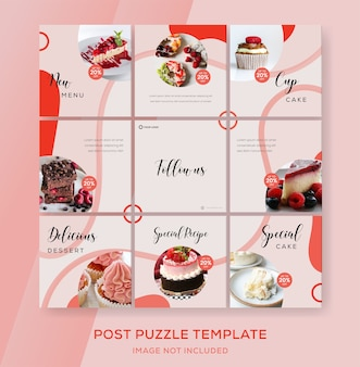 Puzzle banner feed instagram for cake food
