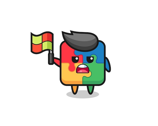 Puzzle character as line judge putting the flag up , cute style design for t shirt, sticker, logo element