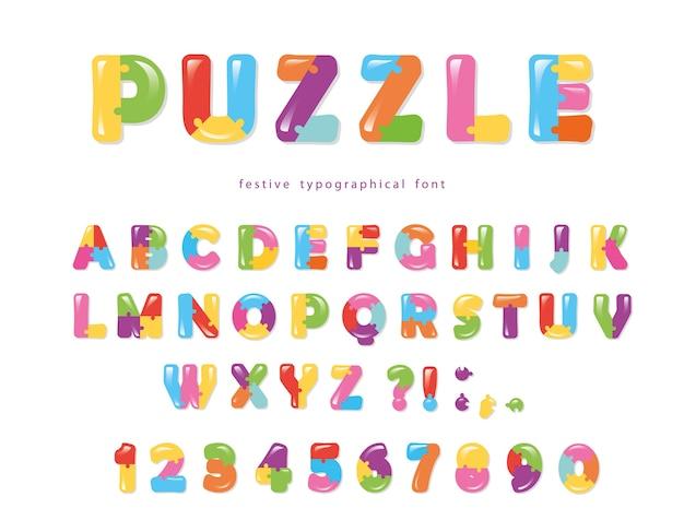 Puzzle colorful font.