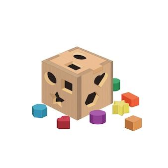 Пазл-куб, сортировка фигур игрушек. раннее образование, развитие детей. детская игра. коробка головоломки.