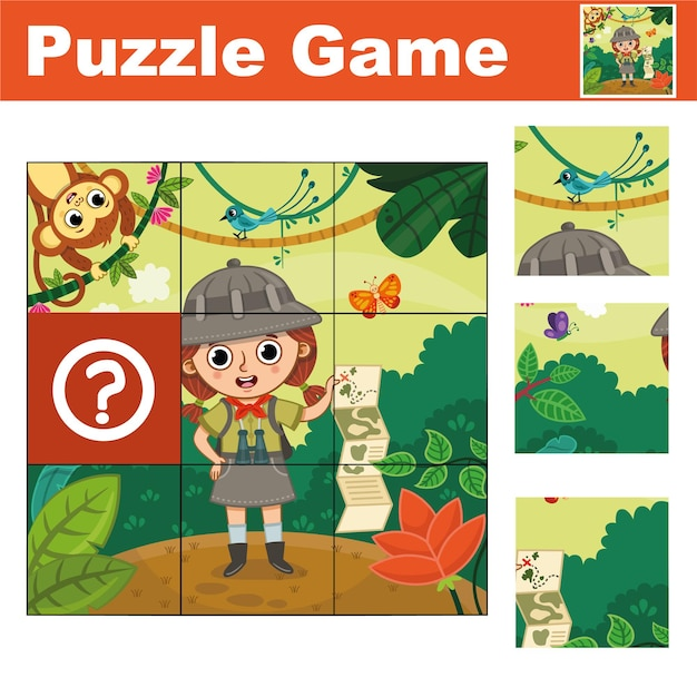 Puzzle education game for preschool children find the missing piece vector illustration