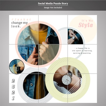 Puzzle fashion sale social media post story template
