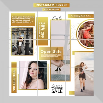 Puzzle fashion web banner for social media post