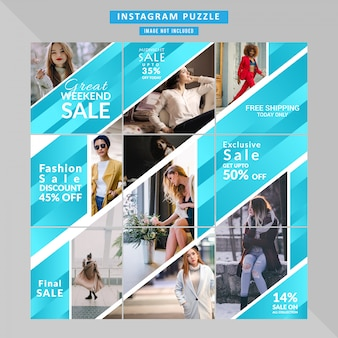 Puzzle fashion web banner for social media