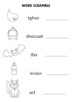 아이들을 위한 퍼즐. 어린이를 위한 단어 스크램블. 흑백 할로윈 사진입니다.