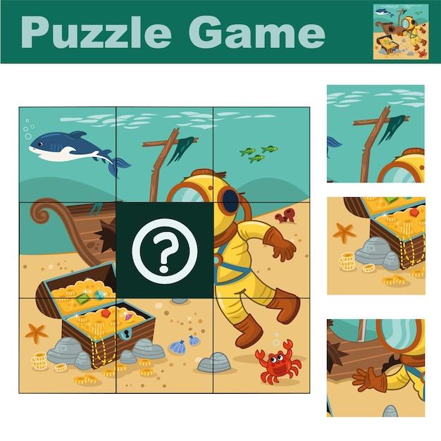 다이버와 해적 상자가 있는 어린이용 퍼즐 게임 올바른 조각 찾기