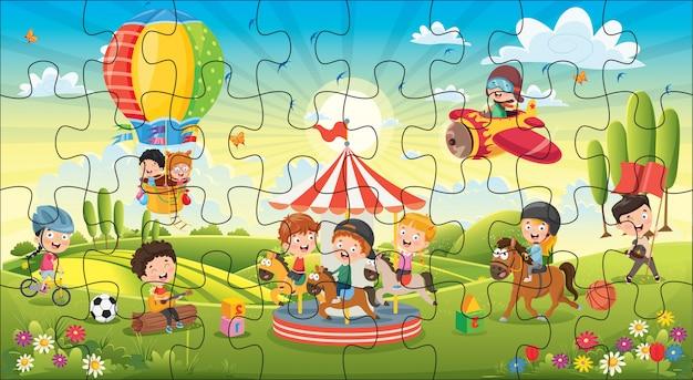 어린이를위한 퍼즐 게임 일러스트