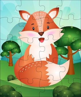 귀여운 여우와 아이들을위한 퍼즐 게임 그림