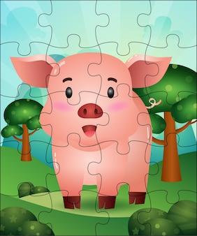 귀여운 돼지와 함께 아이들을위한 퍼즐 게임 그림