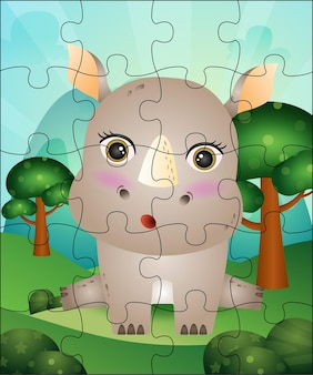 Puzzle game illustration for kids with cute rhino