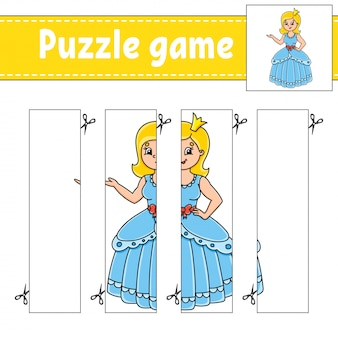 Puzzle game for kids. cutting practice. education developing worksheet.