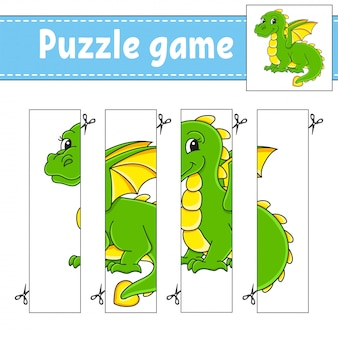 Puzzle game for kids. cutting practice.