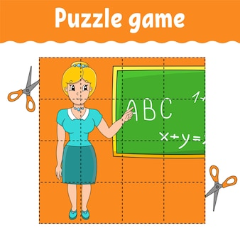 Puzzle game for kids. education developing worksheet. back to school. color activity page.