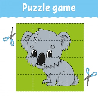 Puzzle game for kids education. education developing worksheet.