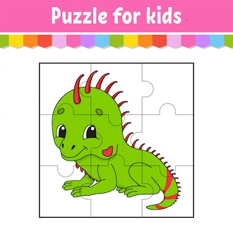 Puzzle game for kids. green iguana. education worksheet. color activity page.