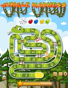 Puzzle game template with green snake and many trees