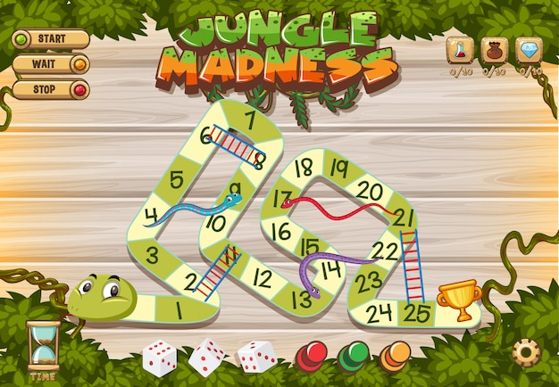 Puzzle game template with green snake in the woods