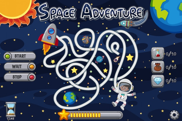 Puzzle game template with man in space