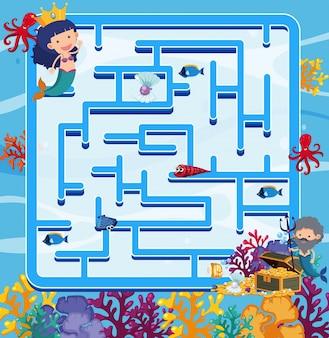 바다에서 인어 퍼즐 게임 템플릿