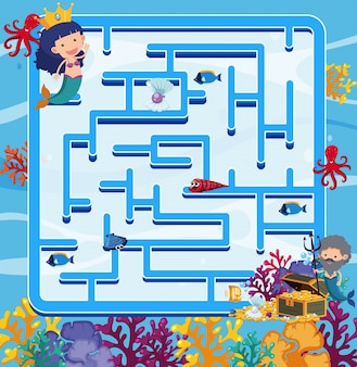 Puzzle game template with mermaids in the ocean