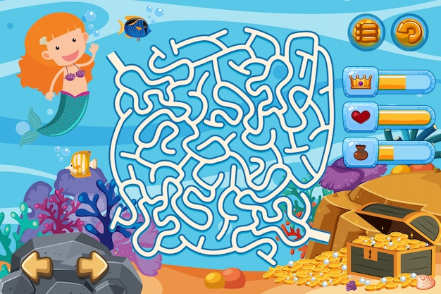 Puzzle game with mermaid and gold coins underwater